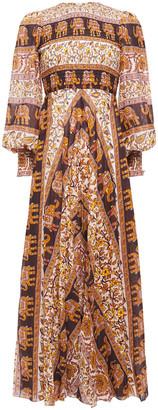 Zimmermann Suraya Shirred Printed Cotton-mousseline Maxi Dresss
