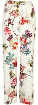 River Island Womens White floral print wide leg trousers