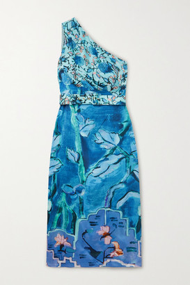 Peter Pilotto One-shoulder Belted Printed Silk-satin Midi Dress - Blue