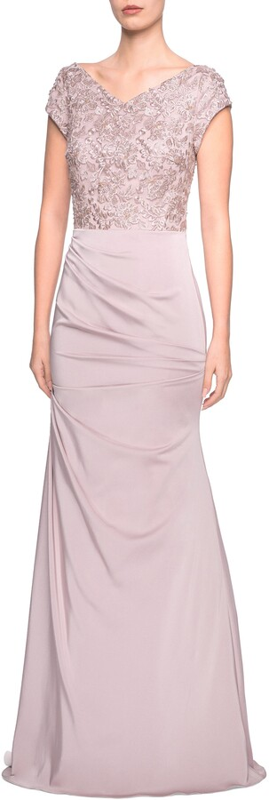 La Femme Embroidered Bodice Satin Evening Dress