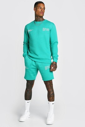 boohoo Mens Green Man Official Printed jumper Short Tracksuit, Green