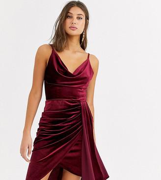 TFNC Tall velvet mini dress with drape detail in burgundy