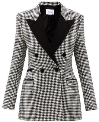 Racil Double-breasted Wool-blend Houndstooth Jacket - Black White