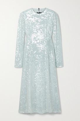Erdem Cutout Sequined Tulle Midi Dress - Light blue