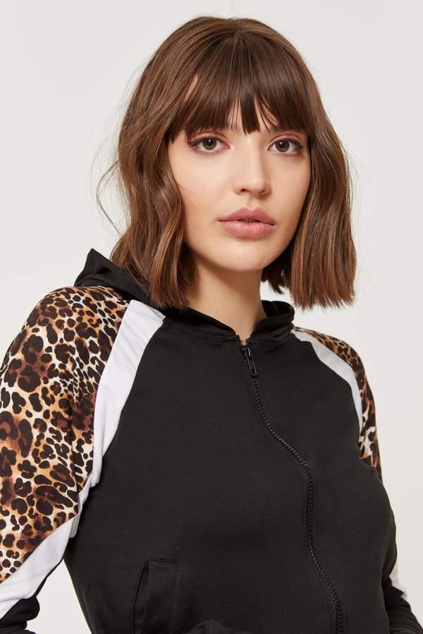 Super Soft Leopard Color Block Hoodie