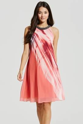 Little Mistress Feather Print Embellished Shift Dress