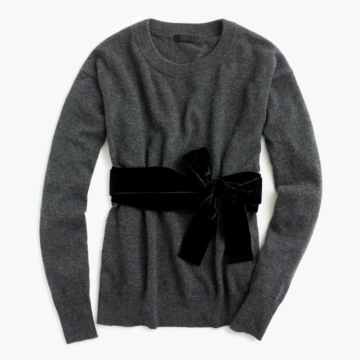 J.Crew Crewneck sweater with velvet sash in everyday cashmere