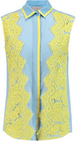Preen by Thornton Bregazzi Layton lace-paneled silk-crepe top