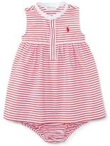 Ralph Lauren Sleeveless Striped Henley Shirtdress w/ Bloomers, Red/White, Size 9-24 Months