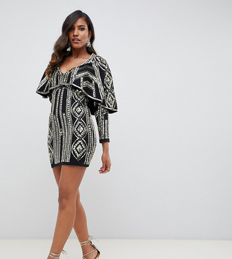 Starlet all over cape detail plunge front mini dress in gold