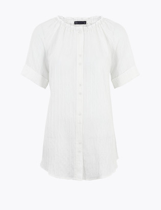 Marks and Spencer Striped Longline Short Sleeve Blouse