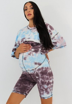 Missguided Tie Dye Maternity Cycling Shorts