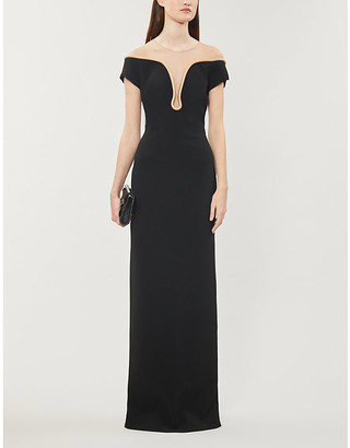 Stella McCartney Pipe-trimmed silk-lined woven gown