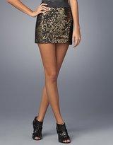 Banded-Waist Sequined Mini Skirt