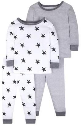 Little Star Organic Baby & Toddler Girl or Boy, Unisex Pure Organic True Brights Cotton Snug Fit Pajamas, 4pc Set