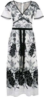 Marchesa Notte Embroidered Floral Dress