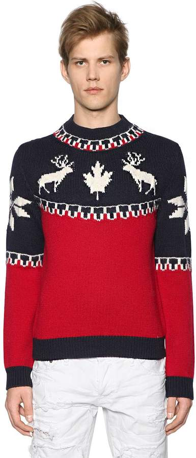 DSQUARED2 Intarsia Wool & Alpaca Sweater