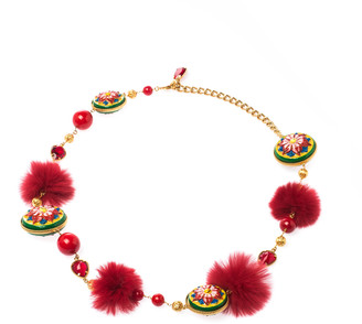 Dolce & Gabbana Hand Painted Fur Crystal Filigree Gold Tone Long Necklace