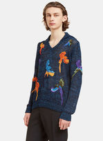 Missoni Men's Bird Embroidered Hooded Knit Sweater In Navy