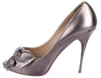 e9385f97f7f30 Valentino Metallic Leather Pumps - ShopStyle