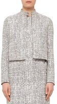 Akris Punto Cross-Stitch Printed Jacquard Jacket, Chalk/Cliff