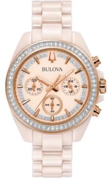 Bulova Women's Chronograph Blush Ceramic Bracelet Watch 37mm, Created for Macy's