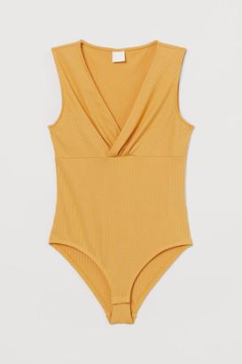 H&M V-neck Bodysuit - Yellow