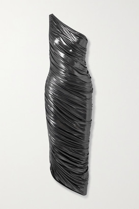 Norma Kamali Diana One-shoulder Ruched Metallic Stretch-jersey Dress