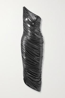 Norma Kamali Diana One-shoulder Ruched Metallic Stretch-jersey Dress - Gunmetal