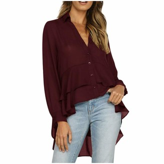 Uulike Women Dress UULIKE Women V-Neck Long Sleeve Mini Dress Tops Casual Button Ruffles Solid Loose Sweater Blouse with Pockets Holiday Evening Party Cocktail Beach Blouse Dresses for Ladies Wine