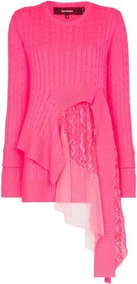 Sies Marjan Trine lace-insert asymmetric sweater