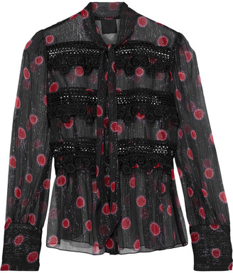 Anna Sui Pussy-bow Metallic Floral-print Silk-blend Georgette Blouse