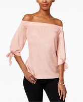 Bar III Off-The-Shoulder Hammered-Satin Top, Created for Macy's