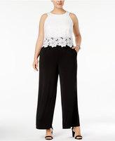 Sangria Plus Size Lace Bodice Jumpsuit