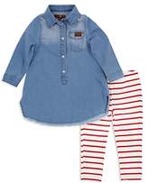7 For All Mankind Girls' Denim Dress & Striped Leggings Set - Little Kid