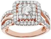 Simply Vera Vera Wang 14k Rose Gold 1 Carat T.W. Certified Diamond Square Halo Engagement Ring