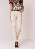 Missy Empire Mary Beth Beige High Waisted Skinny Jeans