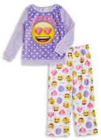AME Sleepwear Little Girl's and Girl's Two-Piece Emoji Pajama Set