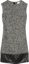 Cecelia leather-trimmed wool-blend tweed dress