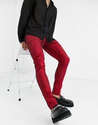 Asos Design DESIGN 'Cigarette' skinny jeans in coated red metallic