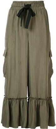Cinq à Sept Ruffled-Hem Cropped Trousers