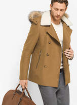 Michael Kors Fur-Trimmed Cotton-Blend Peacoat
