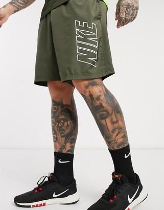 Nike Football academy large logo shorts in khaki