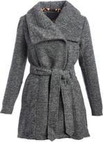 Steve Madden Women's Non-Denim Casual Jackets GREY - Gray Melange High & Low Wrap Coat - Women & Plus