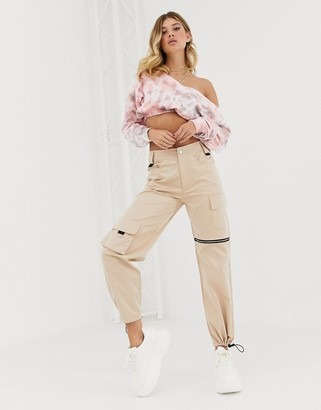 Public Desire relaxed cargo trousers with zip and pocket detail-Beige
