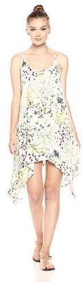 Lucca Couture Women's Print Hankerchief Hem Mini Dress
