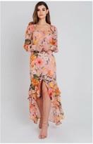 Pretty Darling Pink Floral Chiffon Sweetheart Maxi Dress