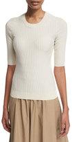 Acne Studios Ribbed Half-Sleeve Sweater, Cream