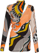 Emilio Pucci Long Sleeved Printed Drape Top