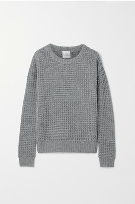 Madeleine Thompson Boreas Waffle-knit Wool And Cashmere-blend Sweater - Gray